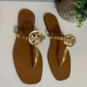 Tory Burch🍂🍁mini Miller gold sandals Sz 11